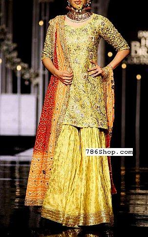 Yellow Crinkle Chiffon Suit | Pakistani Wedding Dresses in USA