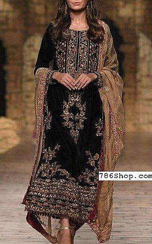 Black Velvet Suit | Pakistani Party and Designer Dresses in USA