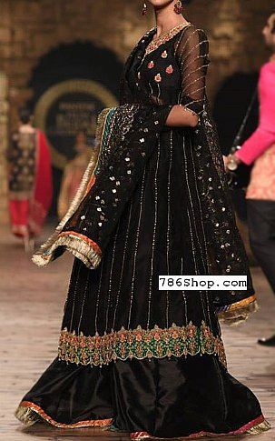 Black Crinkle Chiffon Suit | Pakistani Wedding Dresses in USA