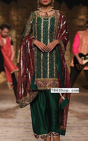 Bottle Green Crinkle Chiffon Suit | Pakistani Party and Designer Dresses