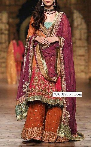 Rust/Plum Crinkle Chiffon Suit | Pakistani Wedding Dresses
