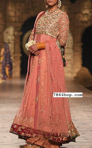Tea Pink Jamawar Chiffon Suit | Pakistani Party and Designer Dresses in USA