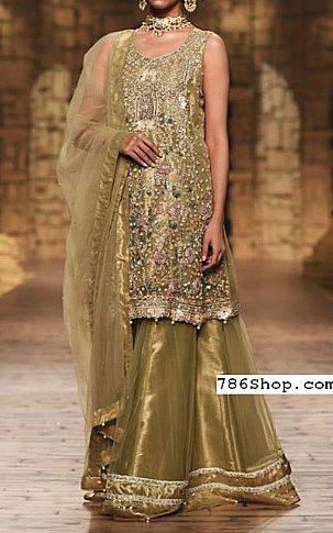 Olive Green Organza  Suit | Pakistani Wedding Dresses