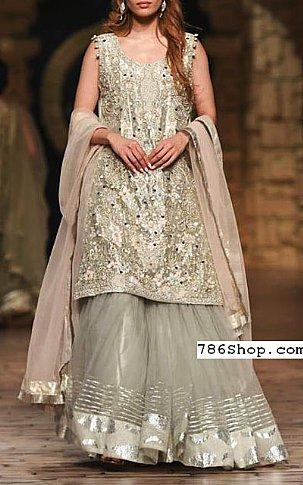 Light Olive Crinkle Chiffon Suit | Pakistani Wedding Dresses
