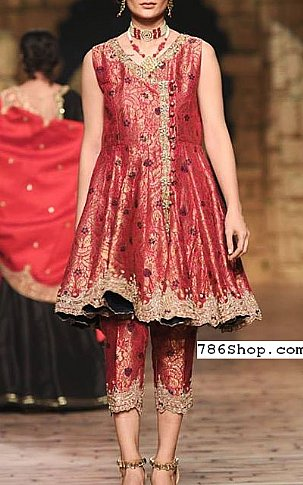 Crimson Jamawar Suit | Pakistani Party and Designer Dresses