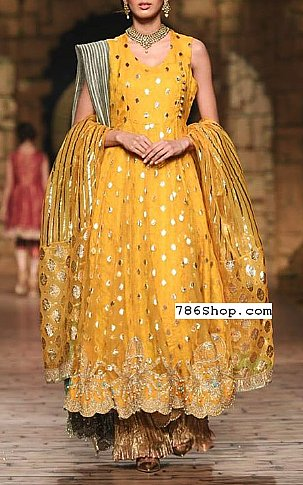 Yellow Crinkle Chiffon Suit   Pakistani Party and Designer Dresses in USA