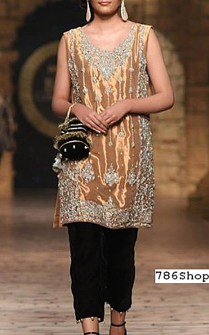 Fawn/Silver Chiffon Suit | Pakistani Party and Designer Dresses in USA