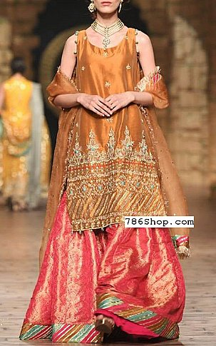 Bronze/Pink Crinkle Chiffon Suit | Pakistani Wedding Dresses