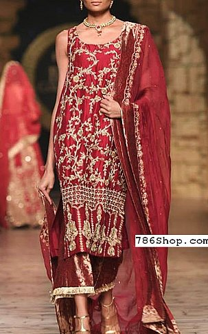 Maroon Silk Suit | Pakistani Party and Designer Dresses in USA