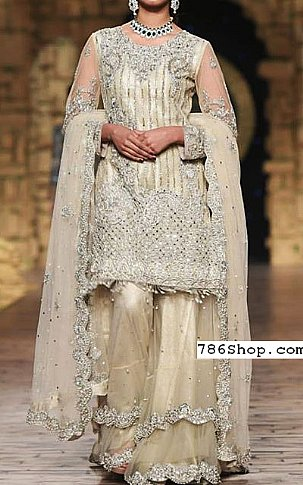 Off-white/Silver Crinkle Chiffon Suit | Pakistani Party and Designer Dresses in USA