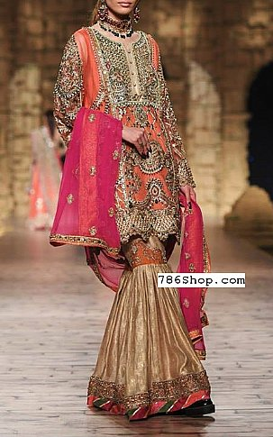 Coral/Golden Crinkle Chiffon Suit | Pakistani Wedding Dresses in USA