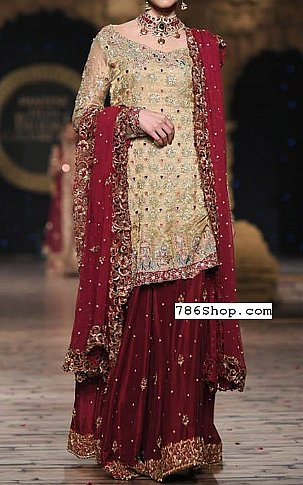 Light Golden/Maroon Crinkle Chiffon Suit | Pakistani Wedding Dresses in USA