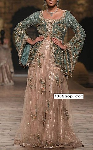 Turquoise/Tan Crinkle Chiffon Suit | Pakistani Wedding Dresses