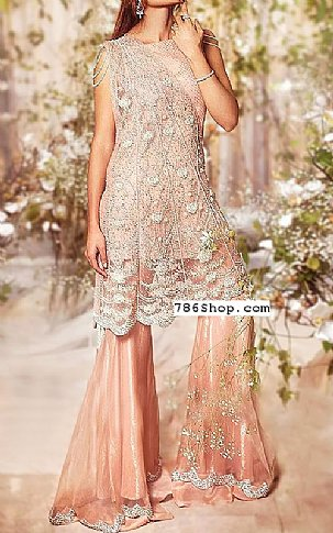 Peach Crinkle Chiffon Suit | Pakistani Wedding Dresses