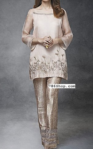 Ivory/Beige Crinkle Chiffon Suit | Pakistani Party and Designer Dresses in USA