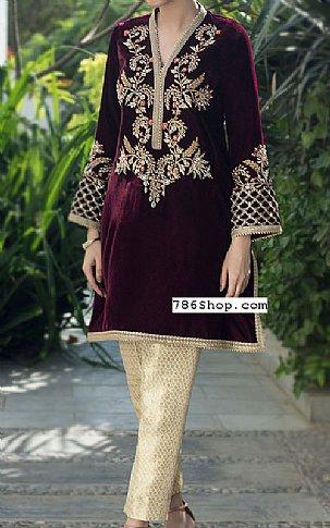 Magenta Velvet Suit | Pakistani Party and Designer Dresses in USA