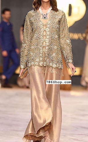Fawn Crinkle Chiffon Suit | Pakistani Party and Designer Dresses in USA