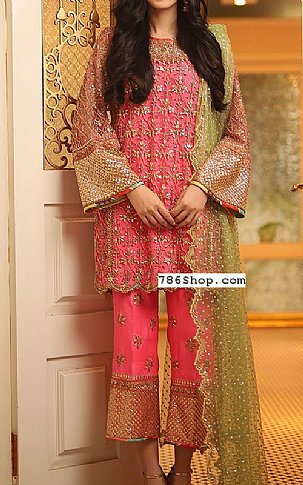 Pink Crinkle Chiffon Suit | Pakistani Party and Designer Dresses