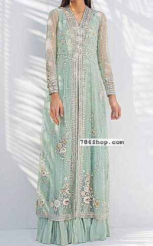 Light Turquoise Crinkle Chiffon Suit | Pakistani Wedding Dresses in USA