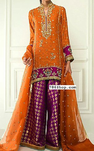 Rust/Purple Crinkle Chiffon Suit | Pakistani Party and Designer Dresses in USA