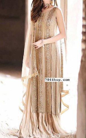 Light Golden Crinkle Chiffon Suit | Pakistani Wedding Dresses