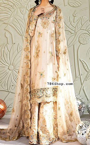Off-white Crinkle Chiffon Suit | Pakistani Wedding Dresses in USA