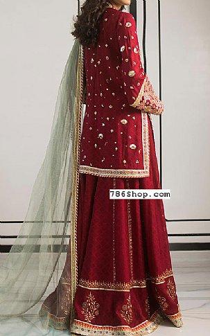 Maroon Jacquard Suit   Pakistani Party and Designer Dresses