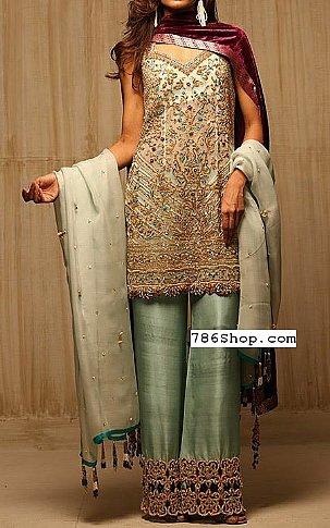 Pistachio Green Chiffon Suit | Pakistani Party and Designer Dresses