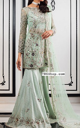 Mint Green Crinkle Chiffon Suit | Pakistani Wedding Dresses