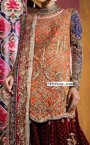 Orange/Maroon Silk Suit | Pakistani Wedding Dresses