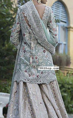 Sea Green/Beige Silk Suit | Pakistani Wedding Dresses