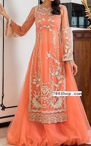 Coral Net Suit | Pakistani Wedding Dresses