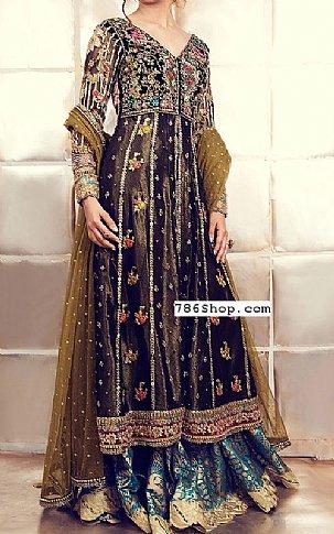 Plum/Teal Net Suit   Pakistani Wedding Dresses
