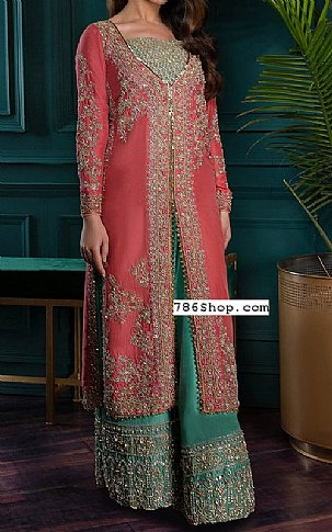 Brink Pink Crinkle Chiffon Suit   Pakistani Party and Designer Dresses