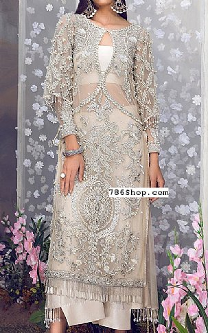 Off-white Net Suit | Pakistani Party and Designer Dresses