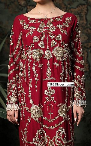 Maroon Silk Suit   Pakistani Party and Designer Dresses