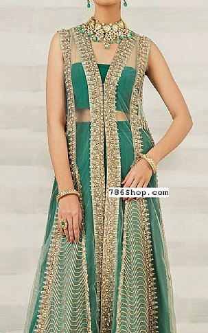 Emerald Green Net Suit | Pakistani Wedding Dresses