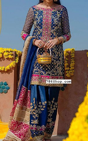 Royal Blue Crinkle Chiffon Suit | Pakistani Party and Designer Dresses