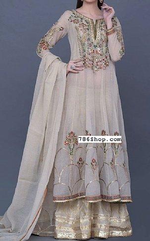 Ivory Crinkle Chiffon Suit | Pakistani Wedding Dresses