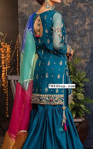 Teal Blue Crinkle Chiffon Suit   Pakistani Wedding Dresses