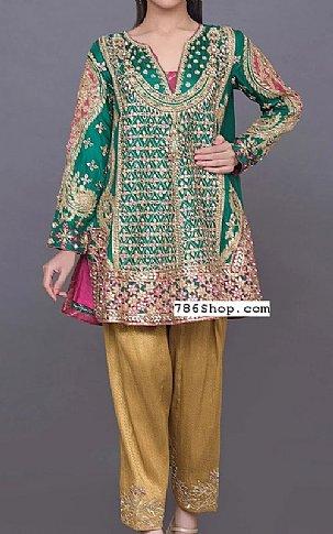 Emerald Crinkle Chiffon Suit | Pakistani Party and Designer Dresses