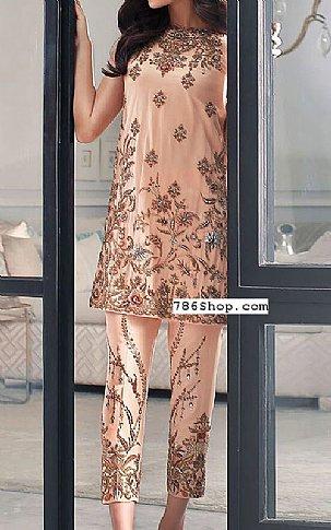 Peach Silk Suit | Pakistani Party and Designer Dresses