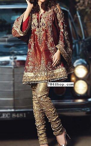 Maroon/Golden Jamawar Suit | Pakistani Party and Designer Dresses