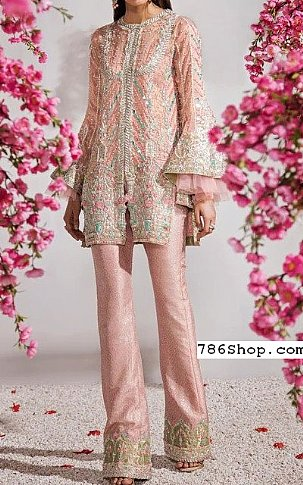 Pink Crinkle Chiffon Suit   Pakistani Party and Designer Dresses