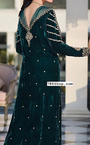 Bottle Green Velvet Suit | Pakistani Party and Designer Dresses