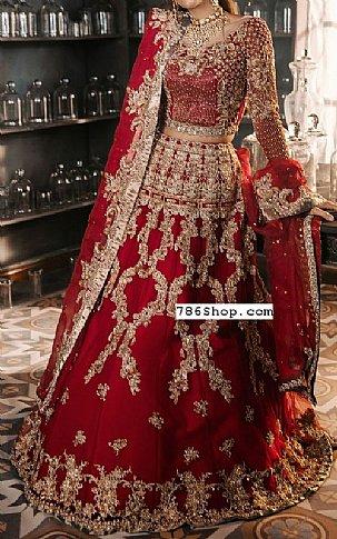 Red Crinkle Chiffon Suit | Pakistani Wedding Dresses