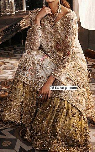 Off-white/Olive Crinkle Chiffon Suit | Pakistani Wedding Dresses