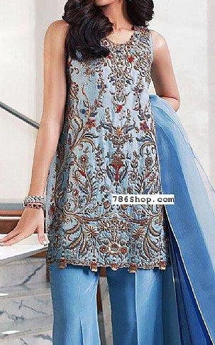 Cornflower Blue Crinkle Chiffon Suit | Pakistani Party and Designer Dresses