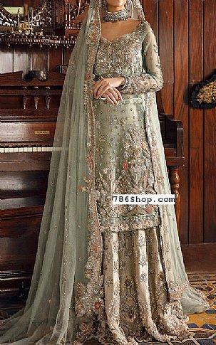 Pistachio Crinkle Chiffon Suit | Pakistani Wedding Dresses