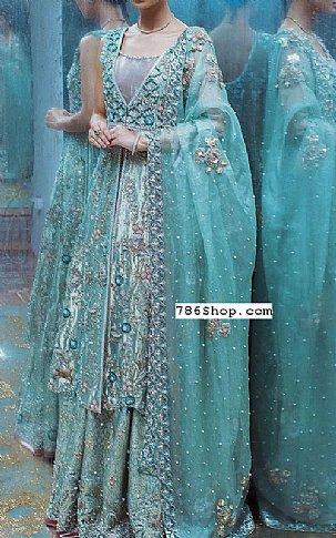 Turquoise Tissue Suit | Pakistani Wedding Dresses